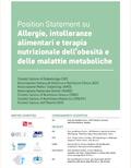 Position Statement su Allergie, intolleranze alimentari e terapia nutrizionale dell'obesita' e delle malattie metaboliche