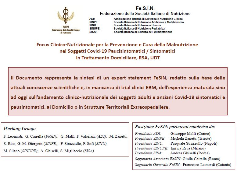 Documento Fe.S.I.N. - Focus Clinico Nutrizionale per la Prevenzione e Cura della Malnutrizione nei Soggetti Covid-19 Paucisintomatici / Sintomatici in Trattamento Domiciliare, RSA, UDT