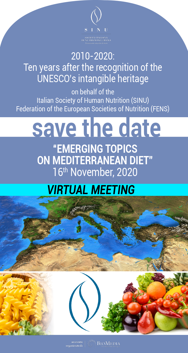 """Virtual meeting Emerging topics on mediterranean diet"" - 16 novembre 2020"
