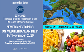 """Virtual Conference Emerging topics on mediterranean diet"" - 16 novembre 2020"
